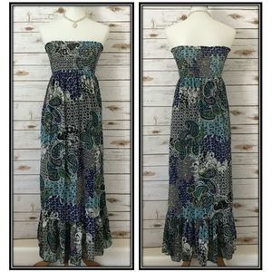 Aqua Smocked Paisley Strapless Midi Dress